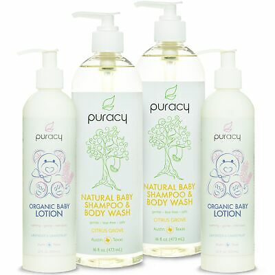 Puracy Baby Care Essentials Bundle - Natural Baby Shampoo & Organic Baby Lotion