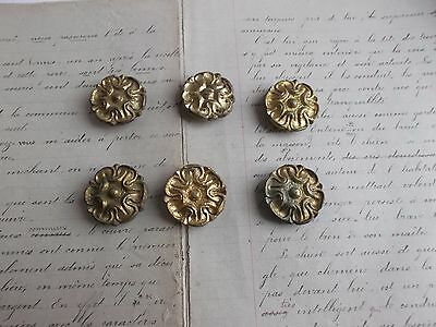 French antique set of 6 brass tole picture hanging hooks nail covers to project