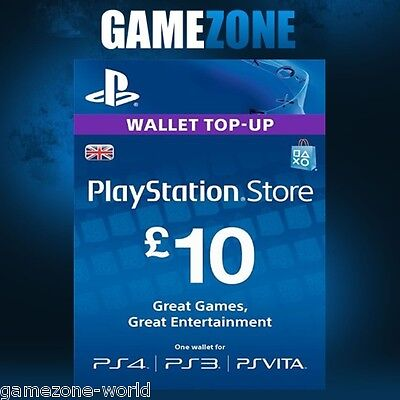 PlayStation Network £10 GBP - 10 Pounds PSN Store Card Key - PS4 PS3 PSP – UK