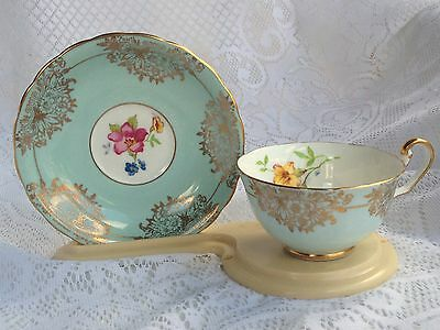 Beautiful 265 VICTORIA Turquoise with Gold Accents & Floral Cup &  Saucer (156)