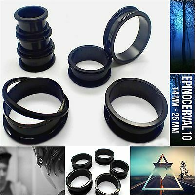 14MM-25MM Dilataciones Big ultra ligeras negro tunnel acrylic con rosca black