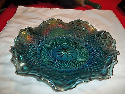"""VINTAGE CARNIVAL LARGE GLASS HOBNAILIRREDESCENT RUFFLE PLATE10"""" Across"""
