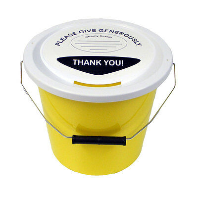 Charity Fundraising Money Collection Bucket with Lid, Label & Ties - Yellow