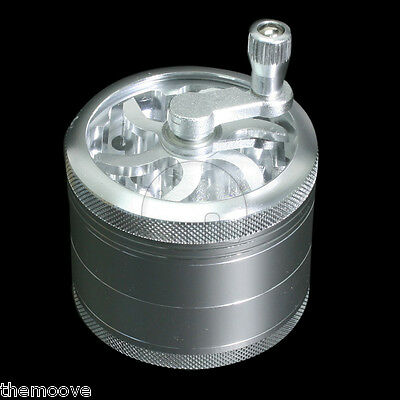 4-layer Aluminum Hand Crank Herbal Herb Tobacco Grinder Smoke Grinders Silver