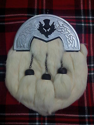 Men's Kilt Sporran White Rabbit Fur/Scottish Kilt Sporrans/Highland Kilt Sporran