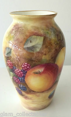 Royal Worcester Hand Painted Fruit Vase Signed J Skerrett