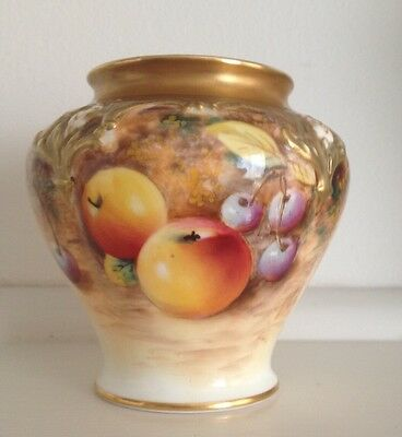 Royal Worcester Hand Painted Pot Pourri Vase Signed