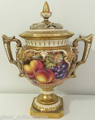 Royal Worcester Hand Painted Fruit Two Handled Pot Pourri Signed Freeman