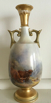 Royal Worcester Hand Painted Highland Cattle Urn Signed Harry Stinton