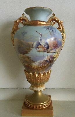 Royal Worcester Hand Painted Storks Vase Signed William Powell