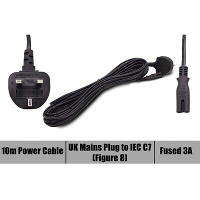 UK Laptop 2 Pin Mains figure 8 Cable Power Cord 10 meter 10M long Lead Plug New