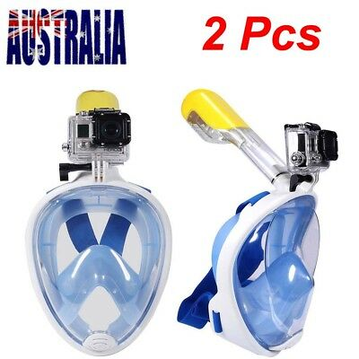 2nd Upgrade 180° Anti-Fog Full Face Snorkeling Snorkel Mask Diving Goggles Scube
