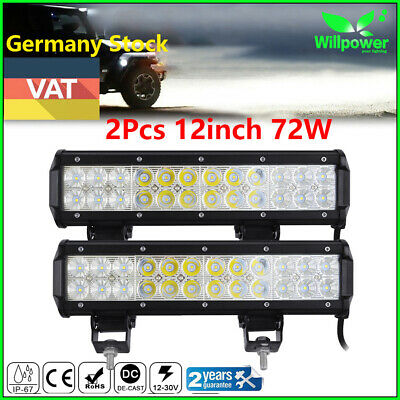 2X12inch 72W Led Work Light Bar Flood Spot Suv Boat Driving Lamp Offroad 4WD UTE