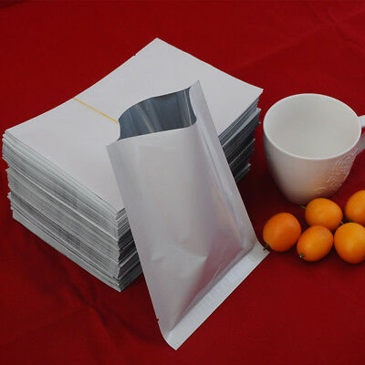 100X White Aluminum Foil Open Top Mylar Heat Seal Snack Packing Bag Pouch Flat