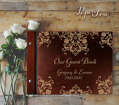 A4 Chocolate Personalised Wedding Wooden Guest Book Intricate Lace Engraving