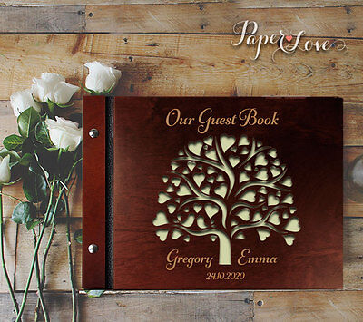 Wedding Tree Love Hearts Brown Wood Guest Book Unique Wedding Gift Free P&P