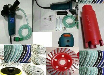 Variable Speed Wet Polisher Polishing Pad Concrete Stone 4 Cup Wheel 3 Core Bit