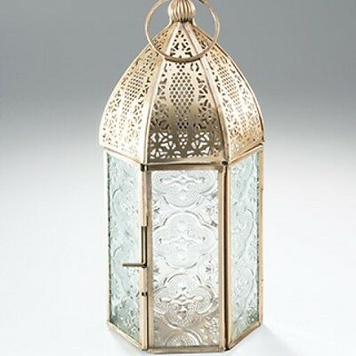 Antiqued Brass Moroccan Style lanterns: small and large sizes.
