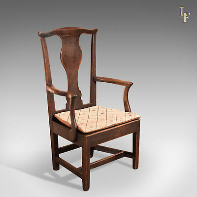 Antique Open Armchair, Georgian Elbow Chair, English Oak, Country Talking Point