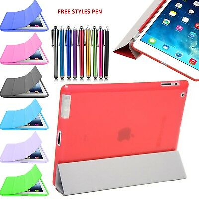 Translucent Crystal Back Thin Smart Fold Stand Cover Case for Apple iPad Air 2