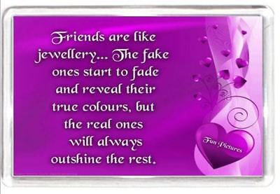 Best Friend Jewel Jewellery Fake Real Shine Quotes Saying Novelty Fridge Magnet