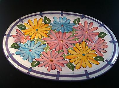 "Lefton Oval 16"" Platter Spring Summer Purple Pink Blue Green Yellow Flowers NICE"