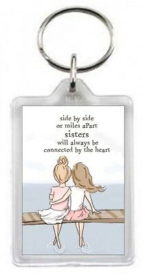 Love Sister Girls Connected Heart Quotes Saying Collectors Gift Present Keyring