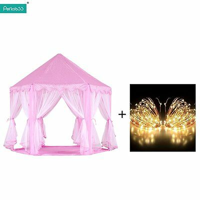 Kids Girls Pink Princess Castle Cute Play House Children Play Tent w/Lights UK