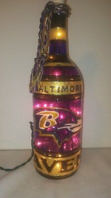 Baltimore Ravens Inspiered Wine Bottle Lamp Handpainted Stained Glass look