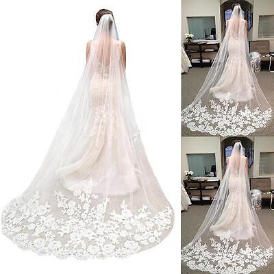 New White Ivory Lace Edge 3M Length Wedding Bridal Veil Comb Hot Sale Noble