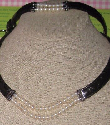 Honora  Black Leather & White Dbl Strand Pearls Necklace & Bracelet Set New