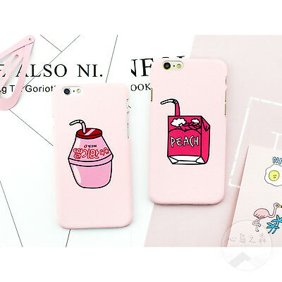 New Cute Pink Peach Juice Milk Pattern Hard Case Cover for iPhone 5 6 6S 7 Plus
