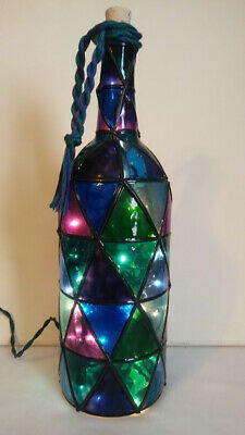 Bottle Lamp Stained Glass Look Handpainted Lighted