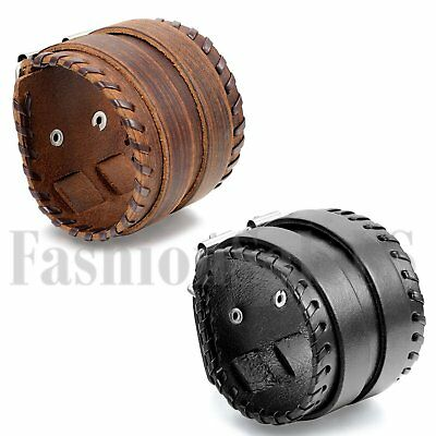 Punk Men's Wide Leather Belt Bracelet Cuff Button Adjustable Wristband Bangle