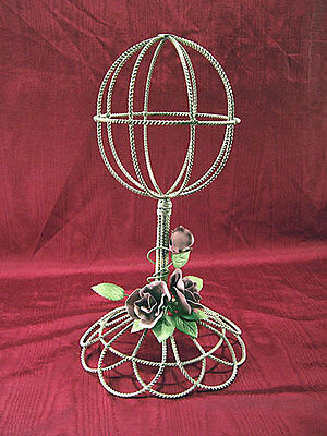 White Twisted Wire Hat Stand with Roses