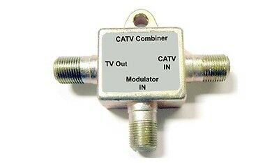 1 In 2 Out RF Coax Antenna Splitter+ 2 In 1 Out RF Coax CATV Combiner