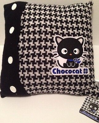 Sanrio Chococat Rare Knit Black & White Argyle Pillow w/ Buttons NWT 2007