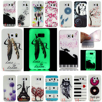 Fluorescenc Glow Soft TPU Clear Slim Rubber Gel Silicone Case For iPhone Samsung