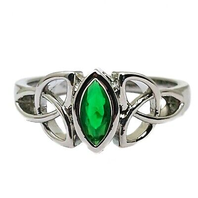 Celtic Knot Trinity White Gold Plated Ring With Green Cubic Zirconia Stone
