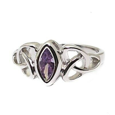 Celtic Knot Trinity White Gold Plated Ring With Purple Cubic Zirconia Stone