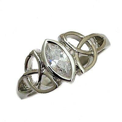 CelticTrinity Knot White Cubic Zirconia White Gold Plated Ring Various Sizes
