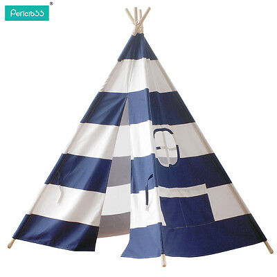 Kids Play Tent large tipi tepee teepee Tent with wood poles 120*145cm Blue