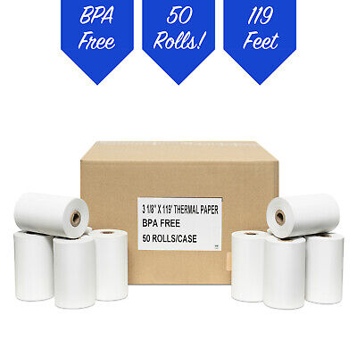 "3-1/8"" x 119' Thermal Receipt Paper PoS 50 Rolls ** FREE SHIPPING**"