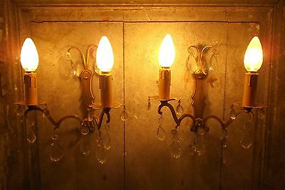 French antique a pair of divine bronze brass wall light crystal droplet pretty