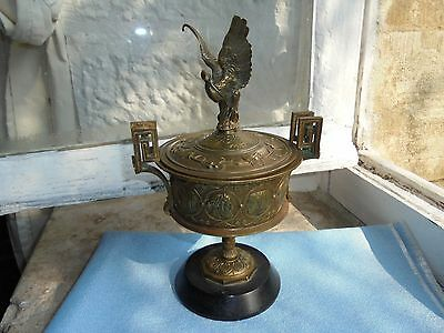 French stunning  Napoleon III urn & lid superb ornate brass marble rarely found