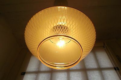 French retro  vintage c.1950 - 1960 ceiling light - glass gold gilt delightful