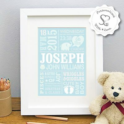 Personalised Christening New Baby Birth Cute Elephant Print or Framed Print Gift