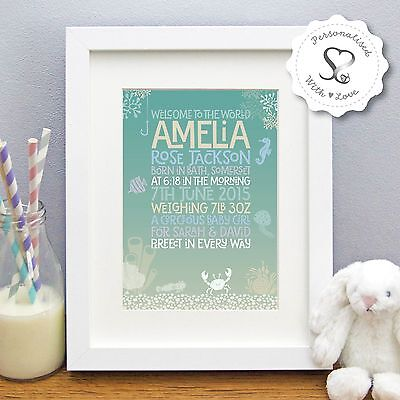 Personalised Christening New Baby Birth Under The Sea Print or Framed Print Gift