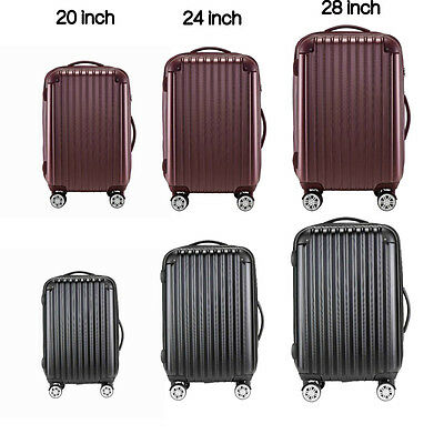 "20"" 24"" 28"" Carry On Luggage Travel Bag Spinner Suitcase ABS+PC Trolley TSA Lock"