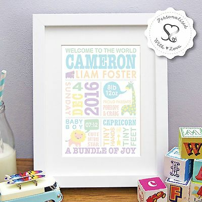 Personalised Cute Zoo Animals New Baby Christening Birth Print or Framed Gift